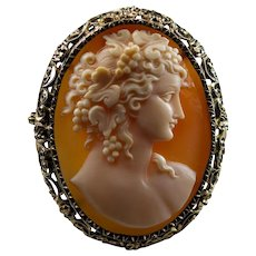 Art Deco Goddess Of Wine Carved Cameo 10k Gold Brooch Pendant