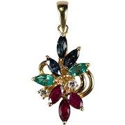 Sapphire Emerald Ruby Diamond Pendant 18k Gold 750 Mixed Gemstone Pendant