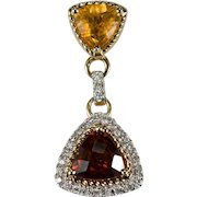 Madeira Citrine Diamond Citrine Pendant 14k Gold