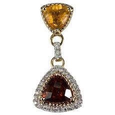 Madeira Citrine Diamond Citrine Pendant 14k Gold