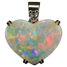 Natural Opal Heart Pendant Cushion Cut Diamond 14k Gold Heart Opal Pendant