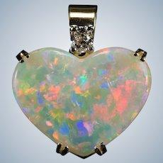 Natural Opal Heart Pendant Cushion Cut Diamond 14k Gold Heart Opal Pendant