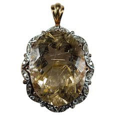 Golden Rutile Quartz Diamond Pendant 15.50ctw 14k Gold Rutilated Quartz Hairs Of Venus Pendant
