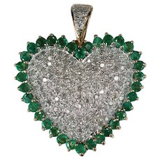 Natural Emerald Diamond Heart Pendant Huge 3.40ctw 10k Gold Pave Diamond Pendant