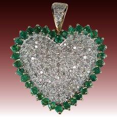 Natural Emerald Diamond Heart Pendant Huge 3.40ctw 10k Gold Pave Diamond Pendant