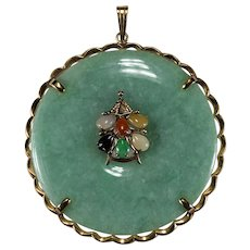 Huge Jade Disc Pendant 14k Gold Mixed Color Jade Hedgehog