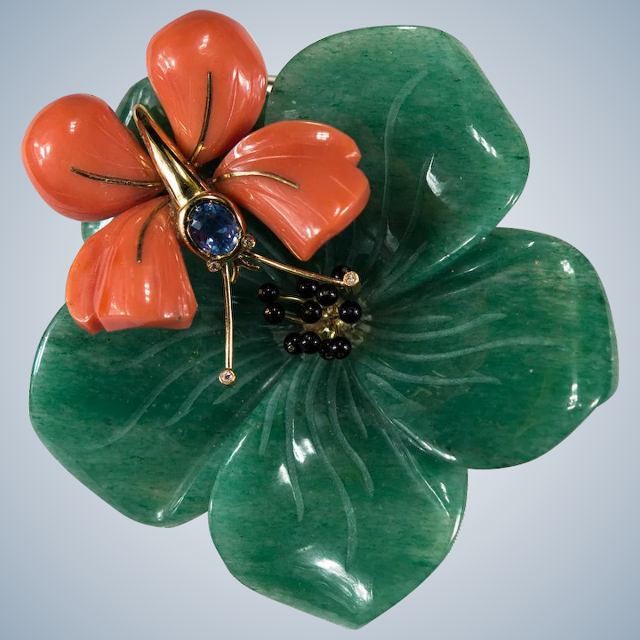 4dc7ce477be Natural Jade Coral Sapphire Diamond Brooch 18k Gold Coral Butterfly :  Tanya's Treasures   Ruby Lane