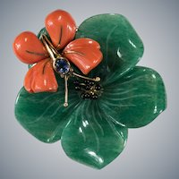 Natural Jade Coral Sapphire Diamond Brooch 18k Gold Coral Butterfly Carved Jade Pendant