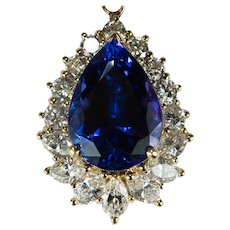 Natural Tanzanite Diamond Pendant 9.35ctw 18k Gold Tanzanite Pendant Enhancer