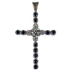 3ctw Natural Diamond Sapphire Cross Pendant 10k Gold 1ctw Solitaire Diamond Center