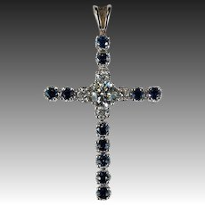 3ctw Natural Diamond Sapphire Cross Pendant 10k Gold 1ctw Solitaire Diamond Center