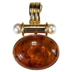 Natural Baltic Amber Pearl Pendant 14k Gold Enhancer Amber Pendant