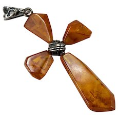Hand Crafted Natural Baltic Amber Cross 925 Sterling Silver Crucifix Cross Pendant