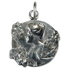 Antique E Dropsy Cameo Medallion 925 Sterling Designer Signed Iris Lady Cameo Pendant Charm