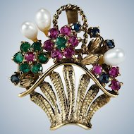 Emerald Ruby Sapphire Pearl Basket Brooch 14k Summer Flower Basket Pendant Enhancer