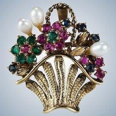 Emerald Ruby Sapphire Pearl Basket Brooch 14k Summer Flower Basket Pendant Enhancer