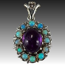 Natural Amethyst Opal Diamond Pendant 14k Opal Bead Halo