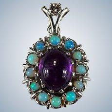 Natural Amethyst Opal Diamond Pendant 14k Opal Bead Halo