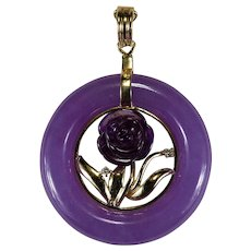 Carved Amethyst Rose Diamond Jade Disc 14k Gold Hong Kong Jade Enhancer Pendant