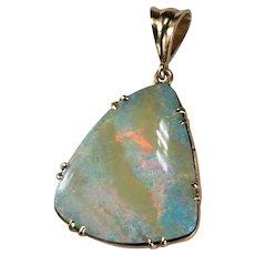 Large Natural Boulder Opal Custom 14k Gold Opal Pendant