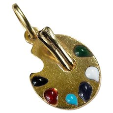 Mixed Color Enamel Artists Pallet Pendant 10k Gold Painters Pallet Bracelet Charm