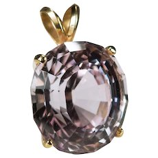 Solitaire Morganite Pendant 14.50ctw 14k Gold Pink Morganite