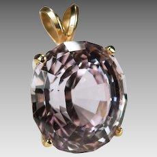Solitaire Morganite Pendant 14.50ctw 14k Gold Pink Morganite