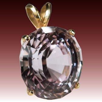 Solitaire Morganite Pendant 14.50ctw 14k Gold Natural Pink Morganite