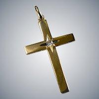 Old European Cut Diamond Star Of Bethlehem Gold Star Cross 14k Gold B. A. Ballou Designer Diamond Cross Pendant