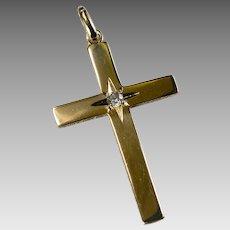 Old European Cut Diamond Solitaire Gold Star Cross 14k Gold B. A. Ballou Designer Diamond Cross Pendant