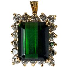 4.70ctw Emerald Cut Deep Green Tourmaline Diamond Pendant 14k Gold Diamond Halo Tourmaline Pendant