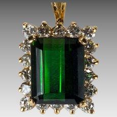 4.70ctw Emerald Cut Deep Green Tourmaline Diamond Pendant 14k Gold Diamond Halo Tourmaline Pendant
