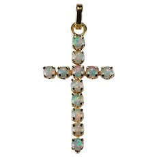Natural Precious Opal Cross 14k Gold Pendant