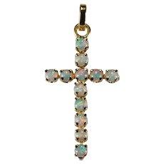 Vintage pendants ruby lane natural precious opal cross 14k gold pendant aloadofball Image collections