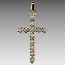 Natural Precious Opal Cross 14k Gold Pendant