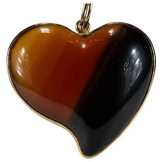 Banded Agate Heart Pendant 18k Gold Large Natural Scottish Agate Pendant