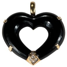 Genuine Black Onyx Diamond Open Heart Pendant 14k Gold Natural Onyx Heart