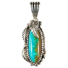 Native American Pilot Mountain Turquoise Pendant 925 Sterling Hand Crafted