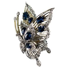 Sapphire Diamond Butterfly Pendant 14k Mixed Gold Filigree 3D Butterfly
