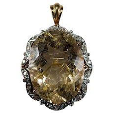 Golden Rutile Quartz Diamond Pendant 15.50ctw 14k Gold Rutilated Quartz Hairs Of Venus Pendant