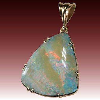 Large Natural Boulder Opal Pendant 14k Gold Opal Pendant Custom