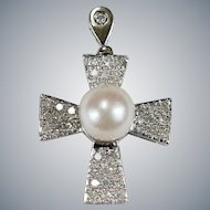 Solitaire Pearl Diamond Cross 14k Gold Pave Set Natural Diamond Cultured Pearl Cross Pendant