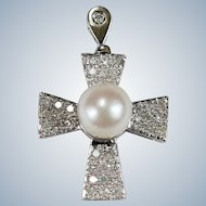 Solitaire Pearl Diamond Cross 14k Gold Pave Set Natural Diamond Cultured Pearl Cross Pendant