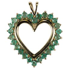 Genuine Emerald Heart Pendant 10k Gold Open Heart Emerald Halo