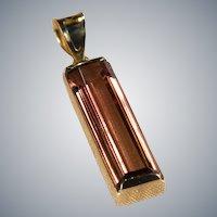 Solitaire Tourmaline Pendant 14k Gold Emerald Cut Natural Tourmaline