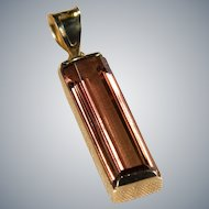 Solitaire Tourmaline Pendant 14k Gold Emerald Cut Natural Tourmaline