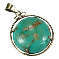 Antique Natural Turquoise 10k Gold Carico Lake Turquoise Hand Crafted Pendant