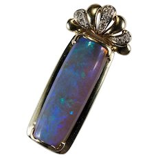 Natural Opal Diamond Pendant 14k Gold 11.60ctw Blue Jelly Opal Cabochon Pendant