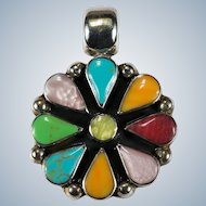 Mixed Stone Turquoise MOP Shell 925 Sterling Pinwheel Flower Pendant
