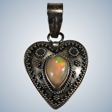 Antique Solitaire Natural Fire Opal Heart Pendant 925 Sterling Silver 1.50ctw